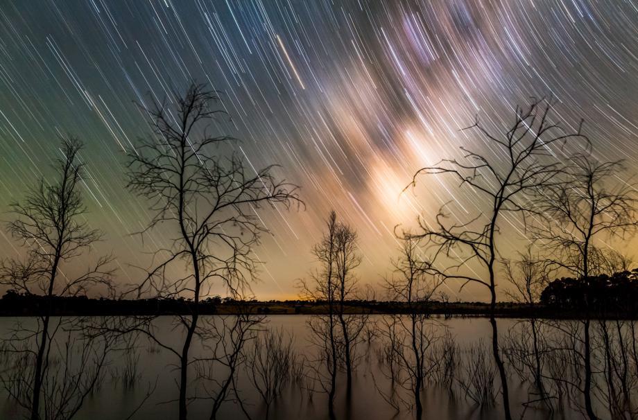 Milky Way Star Trail over Lake Eppalock